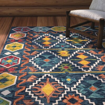 Bobigny Southwestern Hand-Tufted Navy Area Rug Rug Size: Rectangle 9 x 12