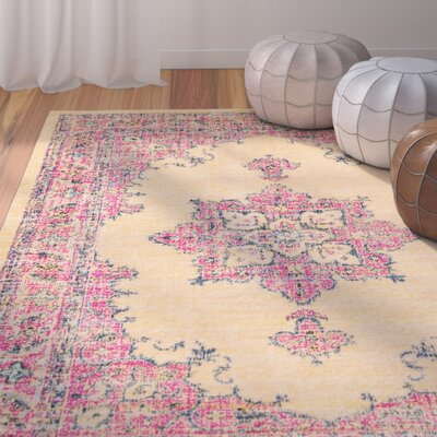 Randhir Pink/Tan Area Rug Rug Size: Rectangle 53 x 76
