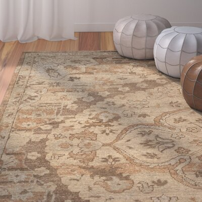 Kline Oriental Hand-Knotted Wool Gold Area Rug Rug Size: 6 X 9