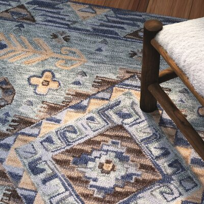 Bobigny Southwestern Hand-Tufted Blue Area Rug Rug Size: Rectangle 4 x 6