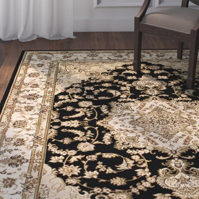Arison High-End Ultra-Dense Woven Patterned Black Area Rug Rug Size: 67 x 93