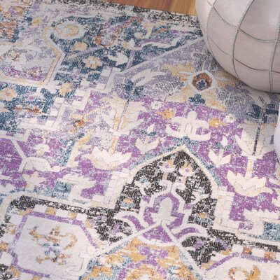 Fonteyne Purple/Teal Area Rug Rug Size: 53 x 76