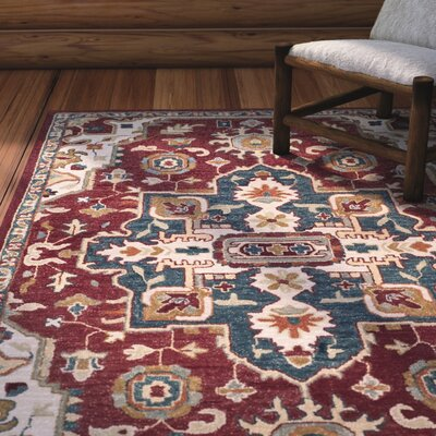 Bobigny Hand-Tufted Red/Blue Area Rug Rug Size: Square 7
