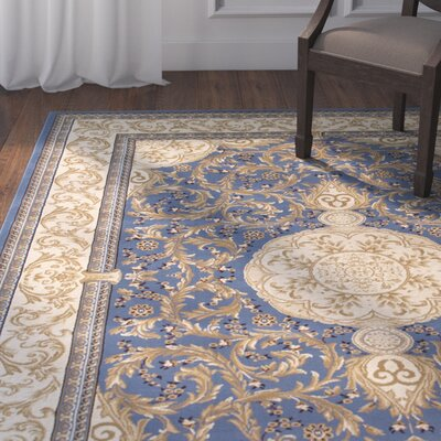 Arpdale High-End Ultra-Dense Thick Bordered Floral Sage Blue Area Rug Rug Size: 53 x 75