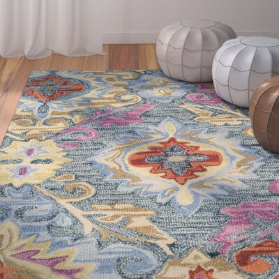 Tomo Hand-Hooked Blue/Yellow Area Rug Rug Size: Rectangle 5 x 8