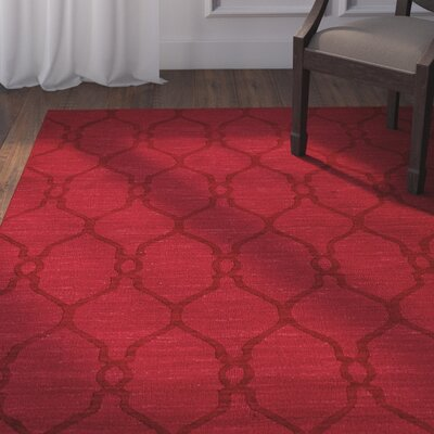 Scribner High-Quality Wool Ultra Soft Modern Solid Textured Red Area Rug