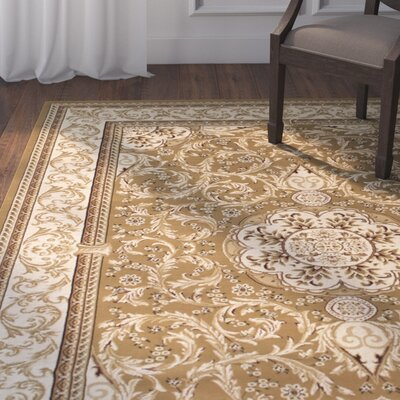 Arpdale High-End Ultra-Dense Thick Bordered Floral Beige Area Rug Rug Size: 53 x 75