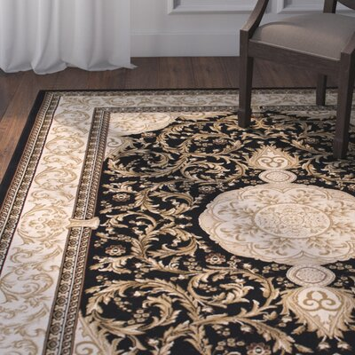 Arpdale High-End Ultra-Dense Black Area Rug Rug Size: 67 x 93