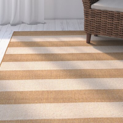 Kensa Almond/Beige Indoor/Outdoor Area Rug Rug Size: Runner 111 x 76