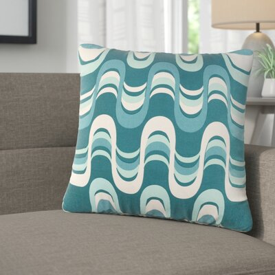 Arsdale Wave Cotton Throw Pillow Color: Teal Multi