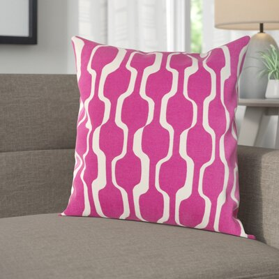 Arsdale Contemporary Cotton Throw Pillow Cover Color: Hot Pink/ White