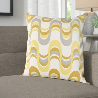 Arsdale Wave Cotton Throw Pillow Cover Color: Lemon Yellow/ Gray Multi