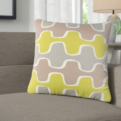 Arsdale Graphic Print Cotton Throw Pillow Color: Lime/ Gray/ Taupe