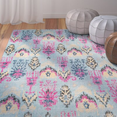 Randhir Light Blue/Pink Area Rug Rug Size: Rectangle 53 x 76