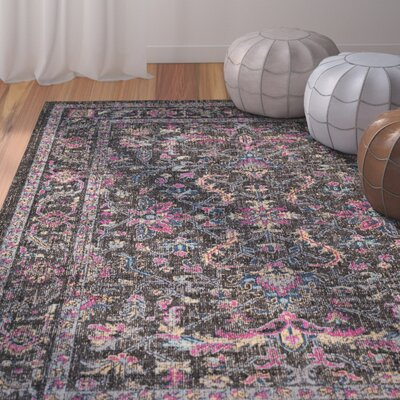 Randhir Brown/Pink Area Rug Rug Size: Rectangle 53 x 76