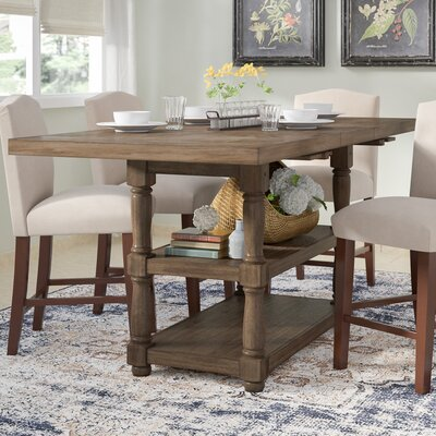 Fortunat Counter Height Extendable Dining Table Finish: Gray
