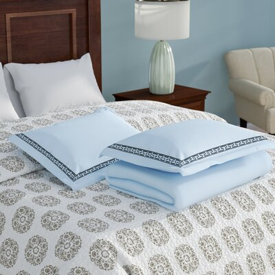 Sheatown Reversible Duvet Set Color: Light Blue/Navy Blue, Size: Full / Queen