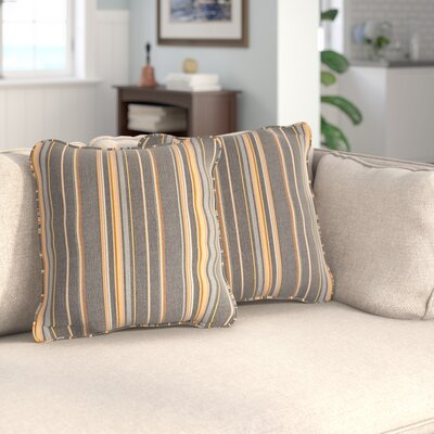 Livia Greystone Sunbrella Indoor/ Outdoor Throw Pillows Size: 18 H x 18 W x 6 D, Color: Gray/Orange