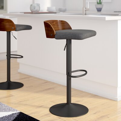 Rockaway Adjustable Height Swivel Bar Stool with Cushion Upholstery: Charcoal