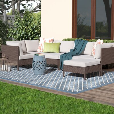 Garrick 6 Piece Outdoor Sectional Deep Seating Group with Cushions