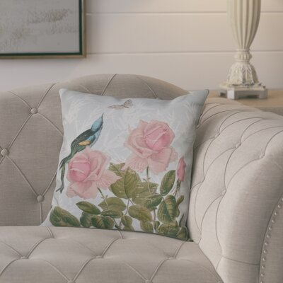 Westby Asian Rose Floral Print Throw Pillow Color: Aqua, Size: 26 H x 26 W