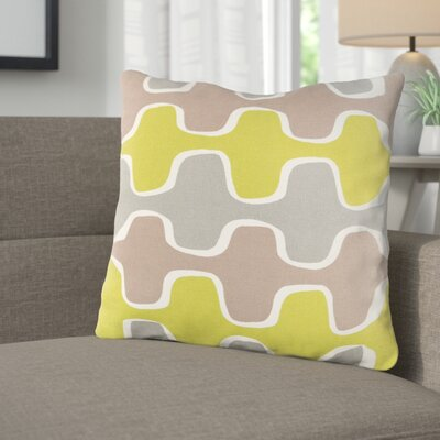 Arsdale Square Cotton Throw Pillow Color: Lime/ Gray/ Taupe