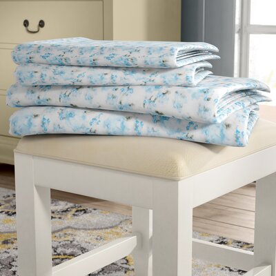 Bernard Printed Microfiber 4 Piece Sheet Set Rose Bouquet Size: Queen, Color: Blue