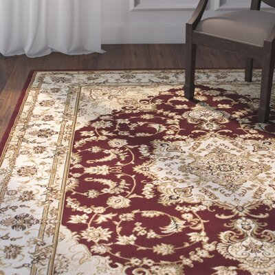 Arison High-End Ultra-Dense Floral Woven Burgundy Area Rug Rug Size: 53 x 75