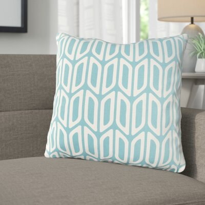 Arsdale Contemporary Cotton Throw Pillow Color: Teal/ White