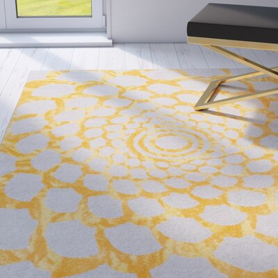 Hythe Gray/Orange Area Rug Rug Size: 710 x 910