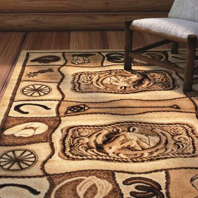 Labrosse Beige/Brown Area Rug Rug Size: 77 x 106
