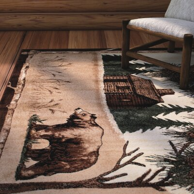 Lacour High Quality Woven Ultra-Soft Wilderness Bear Scene Berber Area Rug Rug Size: 77 x 106