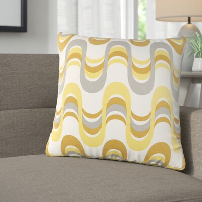 Arsdale Wave Cotton Throw Pillow Color: Lemon Yellow/ Gray Multi