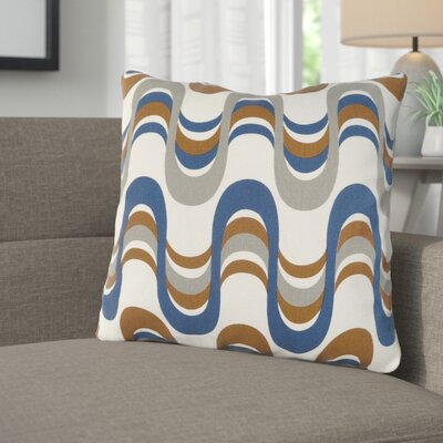 Arsdale Square Graphic Print Cotton Throw Pillow Color: Navy/ Gray Multi