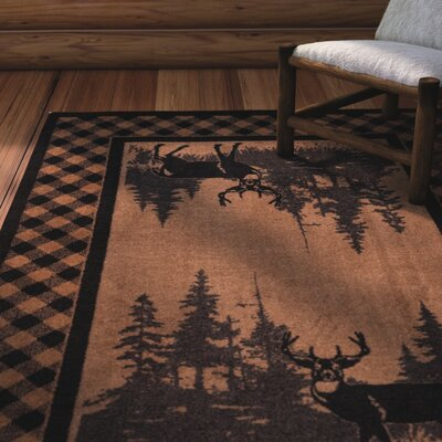 Cabarita Whitetail Plaid Brown Area Rug Rug Size: Rectangle 4 x 5