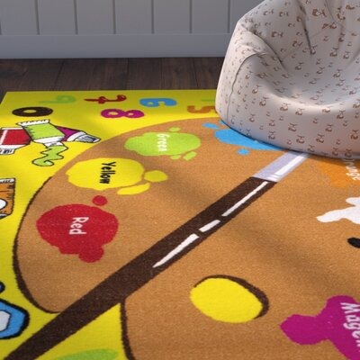 Angelina Yellow Area Rug Rug Size: 411 x 611