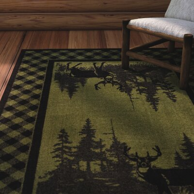 Cabarita Whitetail Plaid Green Area Rug Rug Size: Round 8