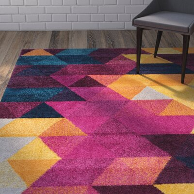 Bunce Mid-Century Modern Geometric Triangle Pink/Yellow Area Rug Rug Size: 7'10