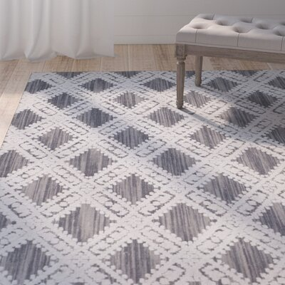 Lizzie Hand-Loomed Gray/Ivory Area Rug Rug Size: Rectangle 9 x 12