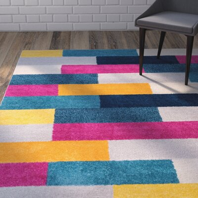 Mystic Tribeca Modern Geometric Blocks Pink/Yellow Area Rug Rug Size: 5 x 7