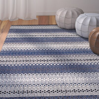 Avaline Hand-Woven 100% Cotton Blue Area Rug