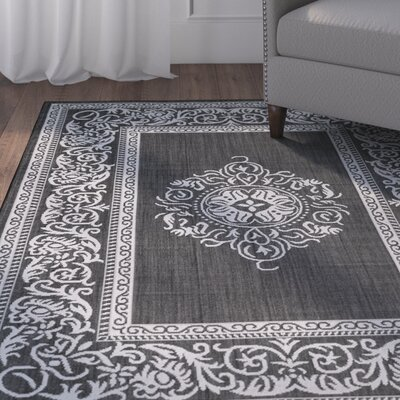 Bellwood All Weather Black Indoor/Outdoor Area Rug Rug Size: 5 x 7