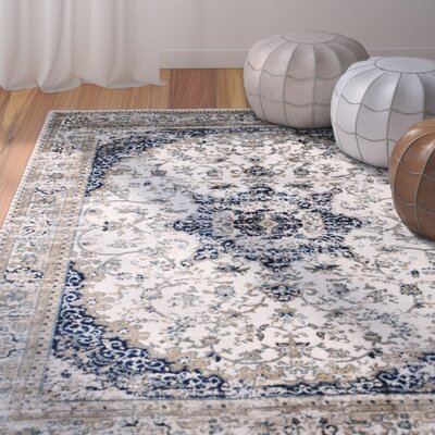 Amy Linen Beige/Blue Area Rug Rug Size: 2 x 3
