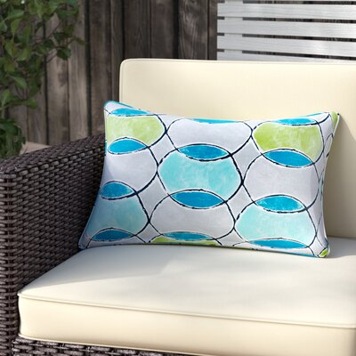 Dahlia Printed Circles 3M Scotchgard Outdoor Oblong Lumbar Pillow Color: Blue/Green