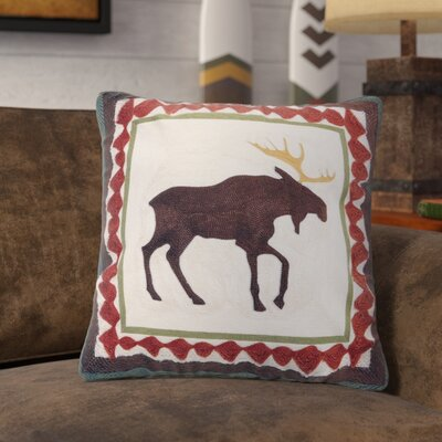 Lemoine Moose Chain Stitch Rustic Throw Pillow