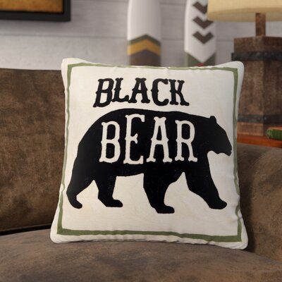 Lilian Black Bear Chain Stitch Rustic Throw Pillow