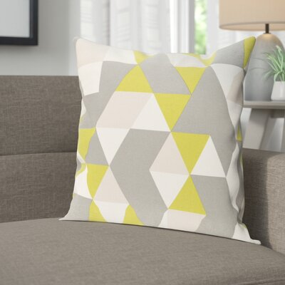Arsdale Geometry Cotton Throw Pillow Cover Color: Lime/ Gray/ Beige