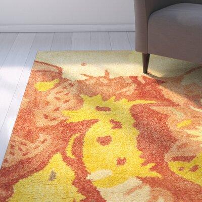 Freda Beige & Orange Area Rug Rug Size: Square 6