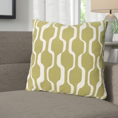 Arsdale Graphic Print Woven Cotton Throw Pillow Color: Olive/ White