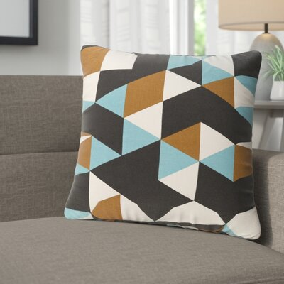Arsdale Geometry Cotton Throw Pillow Color: Teal/ Brown/ Black